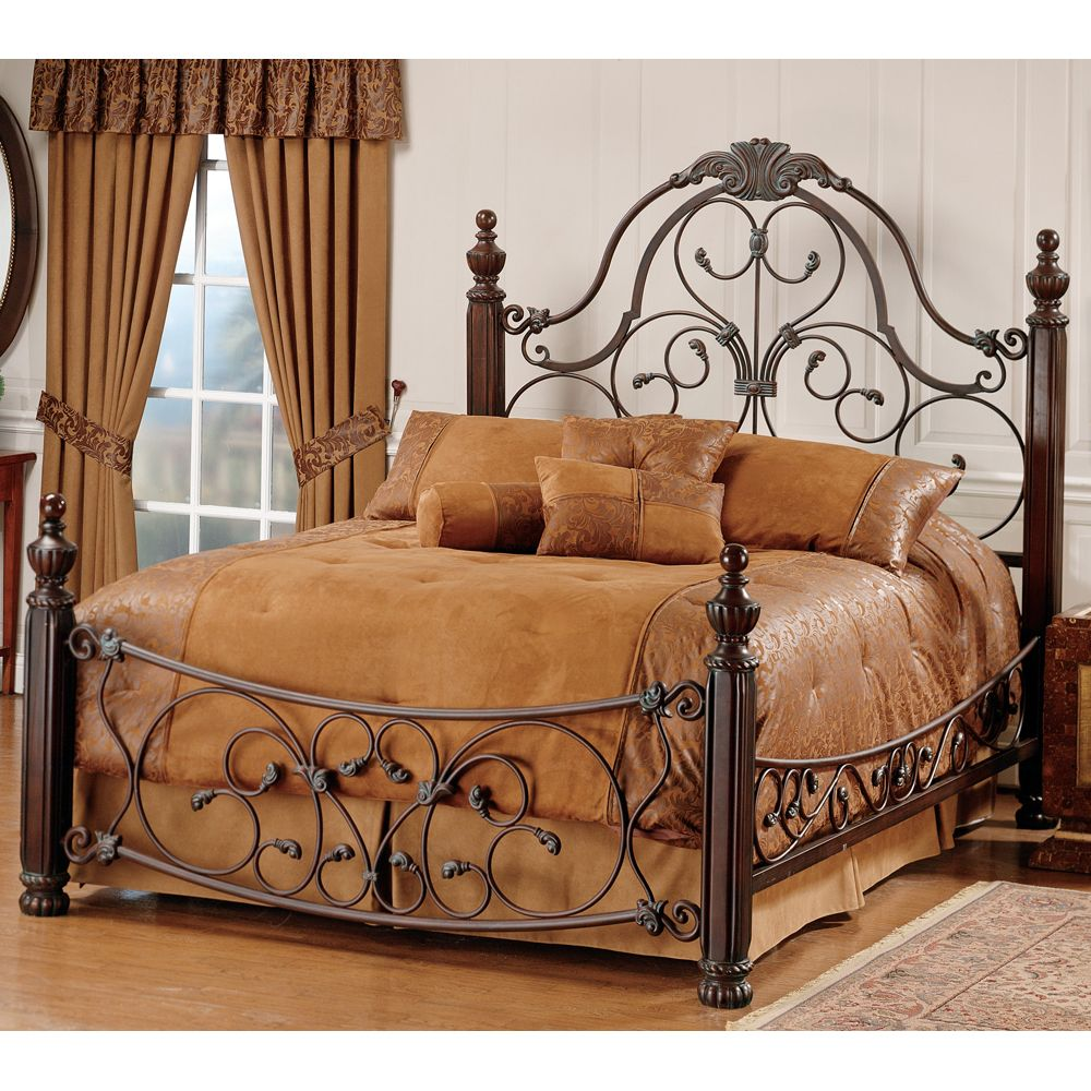 hillsdale bonaire scrolled metal poster bed in brushed bronze finish - Metallic Bedroom 2015
