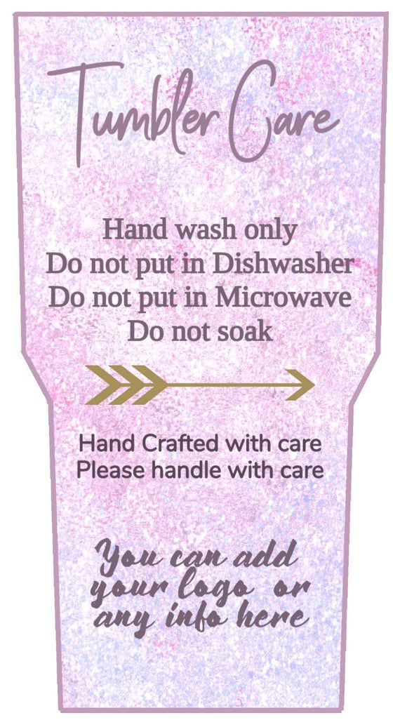 Tumbler Care cards, Add to your tumbler sale, JPEG