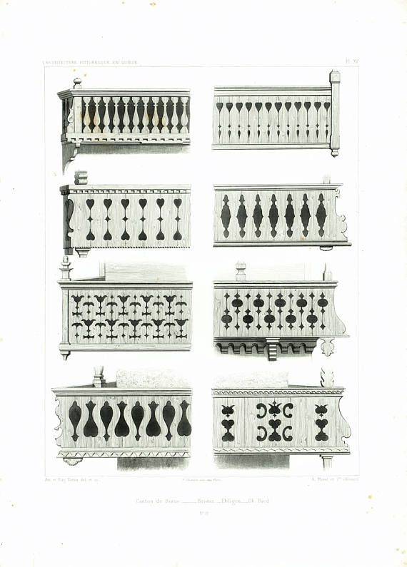 1861 Antique Balustrade Engraving Swiss Chalet Style