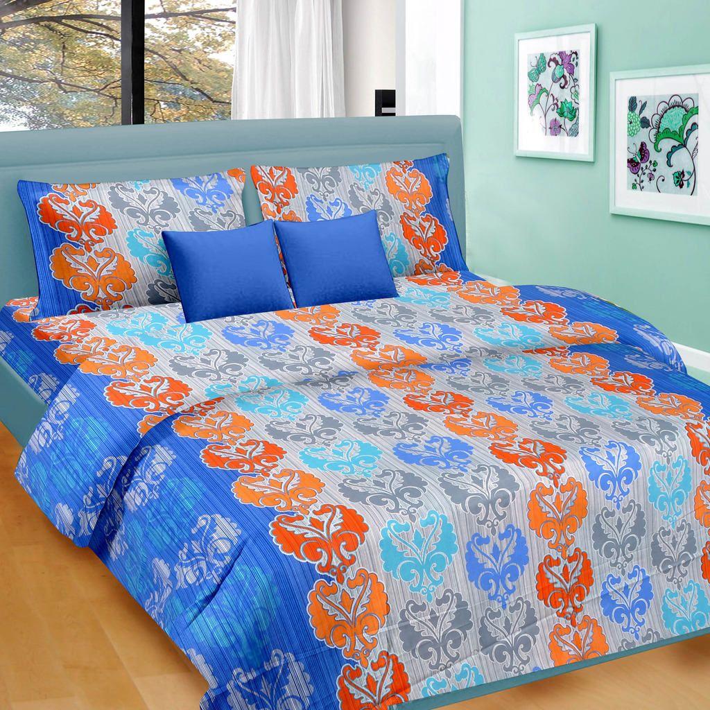 blue orange floral pattern double bed sheet king size. Black Bedroom Furniture Sets. Home Design Ideas