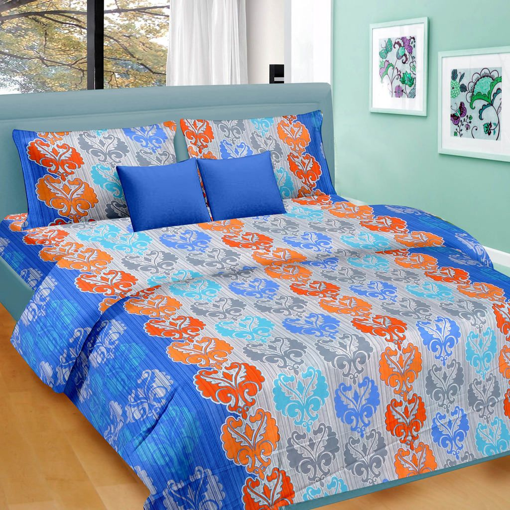 Blue & Orange Floral Pattern Double Bed Sheet