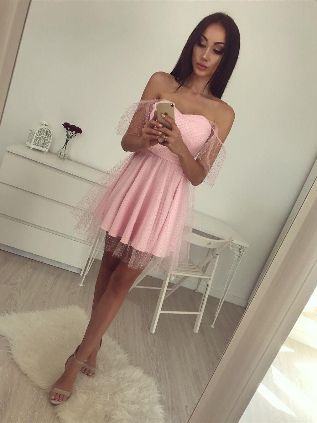 Aline offtheshoulder short pink lace homecoming dress formal