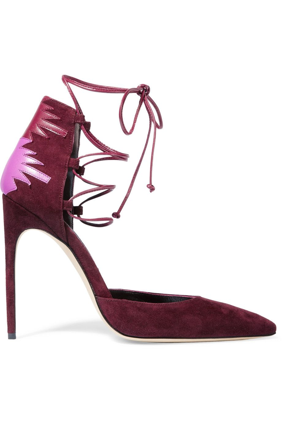 Shop on-sale Brian Atwood Maka lace-up leather-paneled suede pumps.
