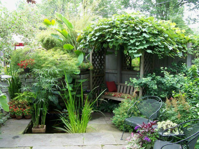 gartengestaltung gartenpflanzen gartenmöbel kleiner teich garden - gartenpflanzen