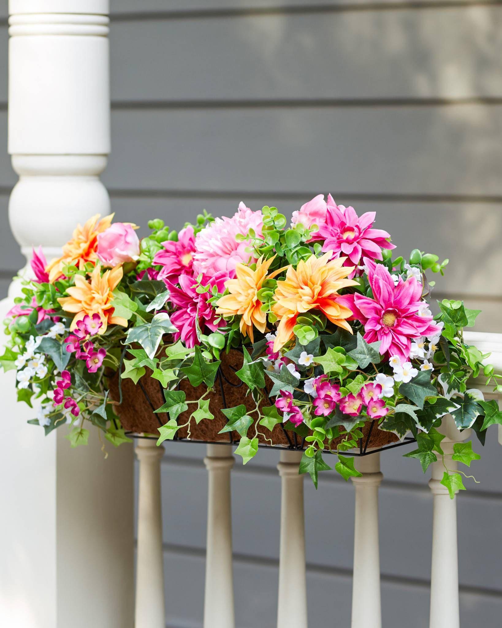 Outdoor Radiant Peony Foliage Deck Basket Flower Arrangements