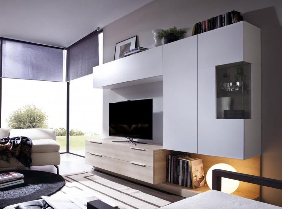 Modern Rimobel Wall Storage System With TV Unit And 3 Cabinets In Various  Finishes   Contemporary