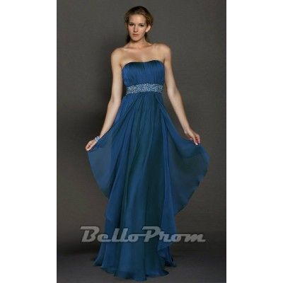 Blue Strapless Sequined Waistline Prom Dress A4158  Price: $139.00  Buy now enjoy -10% Discount.
