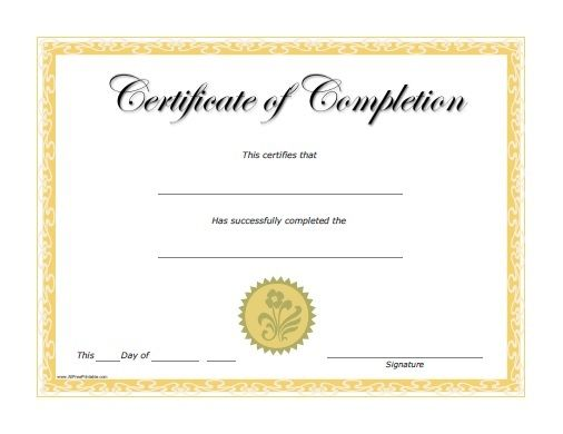 free-printable-certificates-of-completionjpg (506×390) Numbers - First Aid Certificate Template