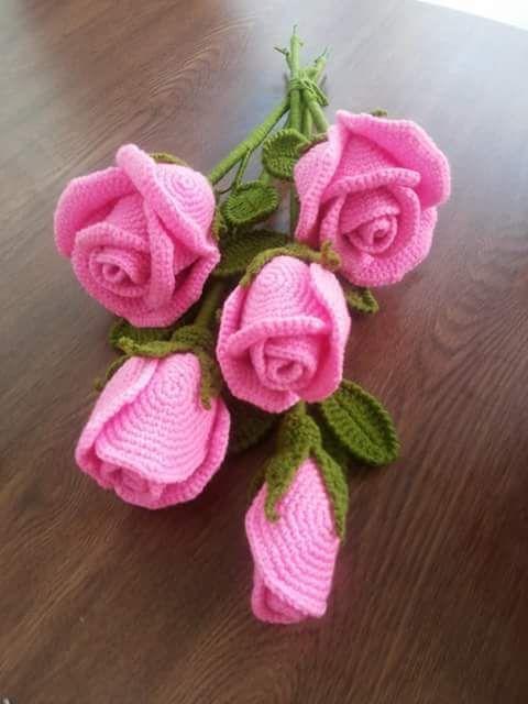Fleurs en crochet - Rose | the day | Pinterest | Flores, Ganchillo y ...