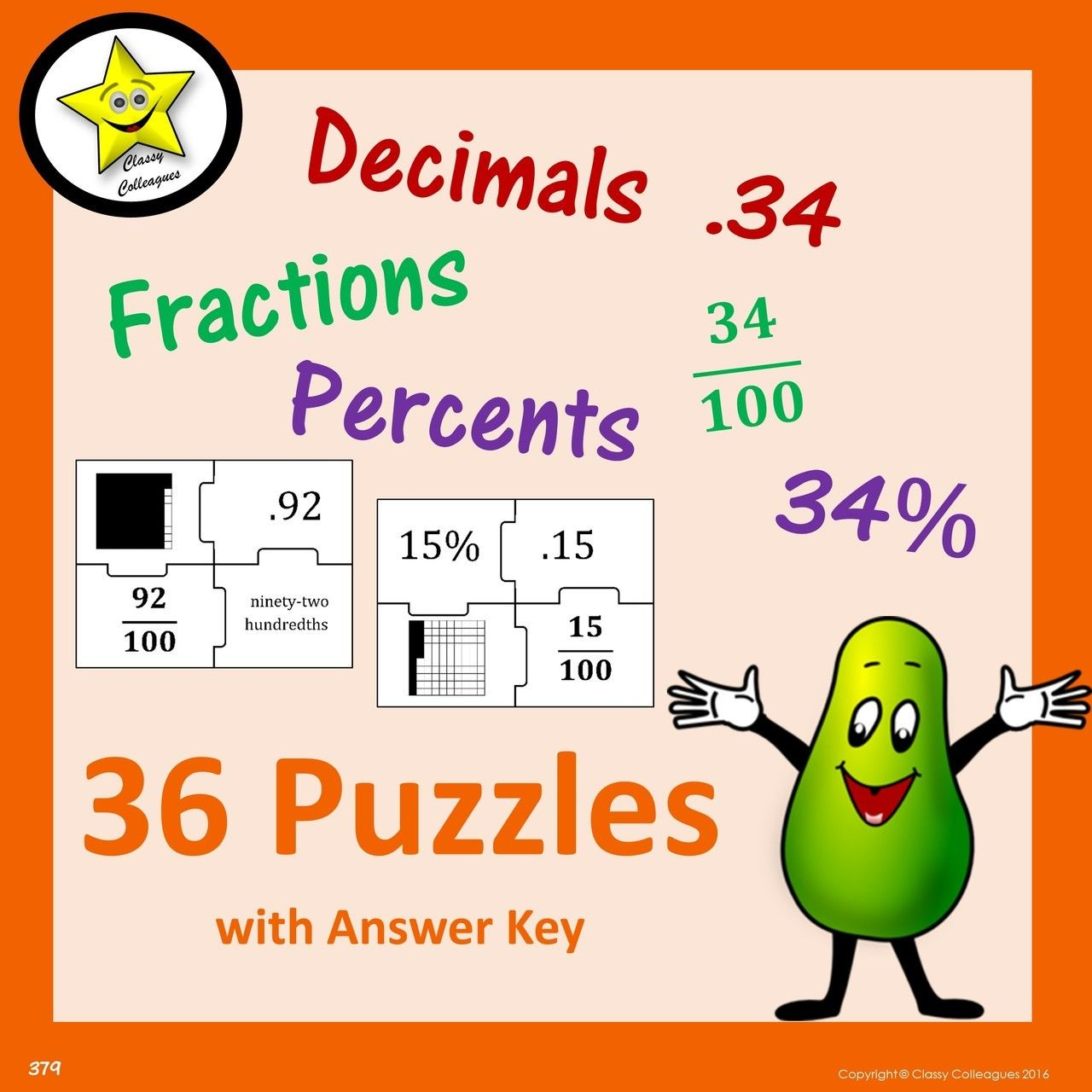 Decimal fraction percent puzzles teaching math fraction