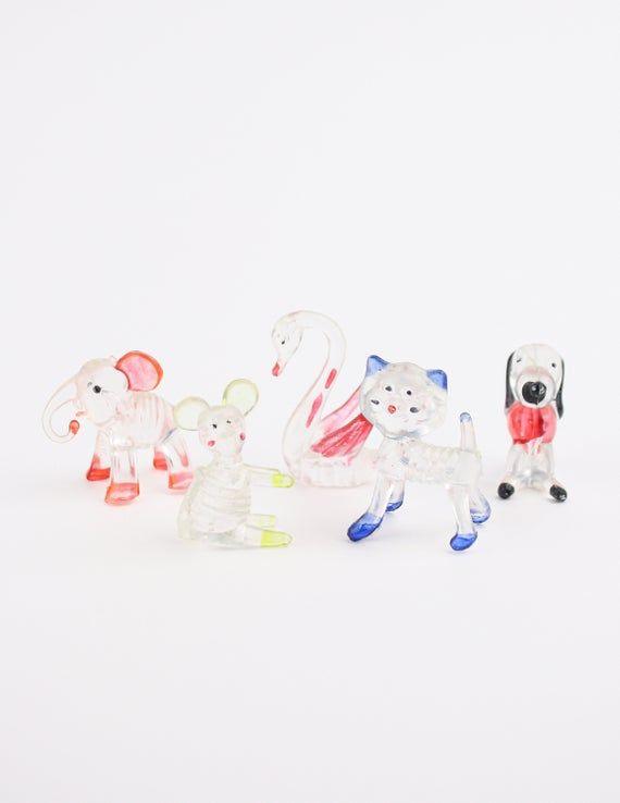 70's Crystal Plastic Animal Figurines, Vending Machine Toys Knick Knack, Clear, Set of 5 #knickknack