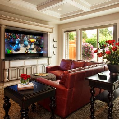 Admirable Traditional Family Room Red Couch Yellow Design Pictures Largest Home Design Picture Inspirations Pitcheantrous