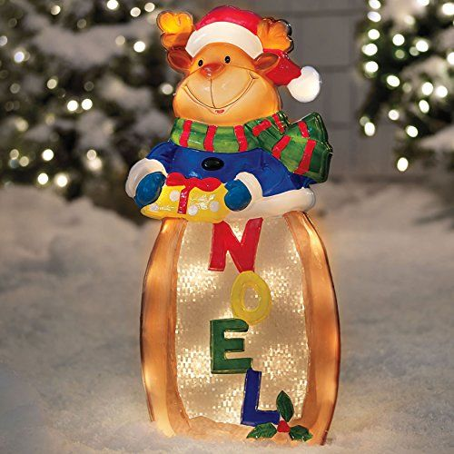 28 prelit noel reindeer w santa hat gift outdoor christmas decoration learn more by visiting the image link this link participates in amazon service llc - Amazon Outdoor Christmas Decorations