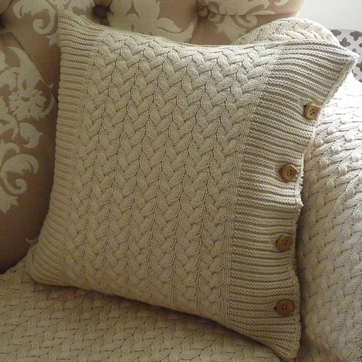 Free Cushion Cover Knitting Patterns : Brompton Beige Cable-Knit Cushion Knitting Pinterest Cable, Knit croche...