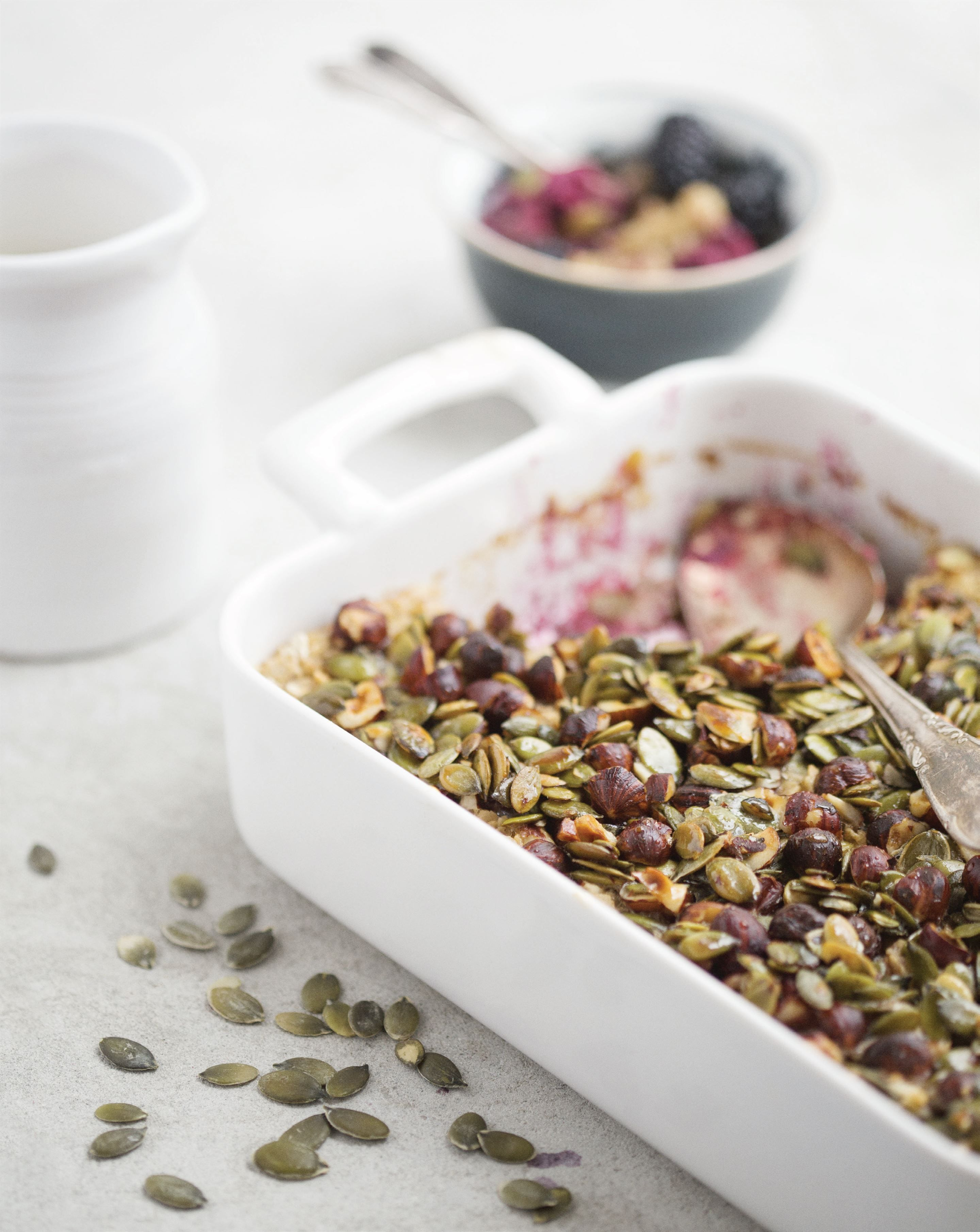 Baked crunchy blackberry oatmeal recipe from The Green Kitchen by ...