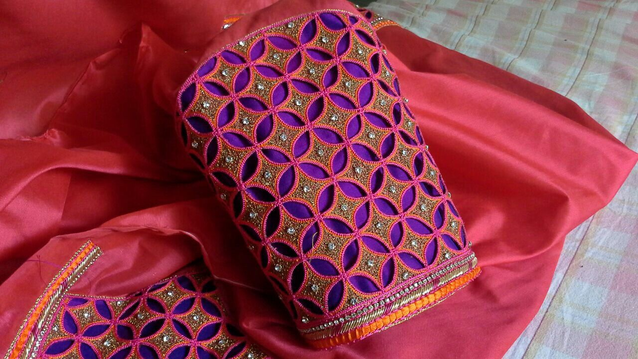 Saree blouse design sleeve gorgeous cut work  elbow sleeve  nandu  pinterest  blouse