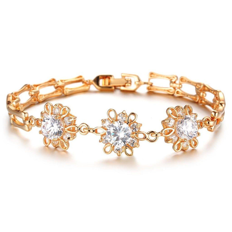 18K Gold Plated Bracelet Cubic Zirconia Sunflower Charm Bracelet Women Bracelets and Bangles eEh2wTo