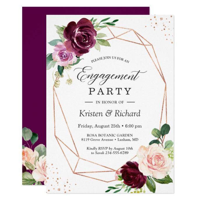 Romantic Plum Purple Blush Floral Engagement Party