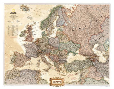 Europe Political Map  Executive Style   Executive style  Decorating     Europe Political Map  Executive Style Photo at AllPosters com
