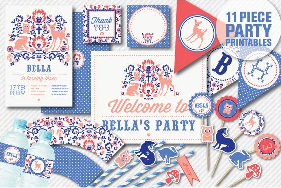 Folk Woodland Animal Personalised Printables - Party Invitations