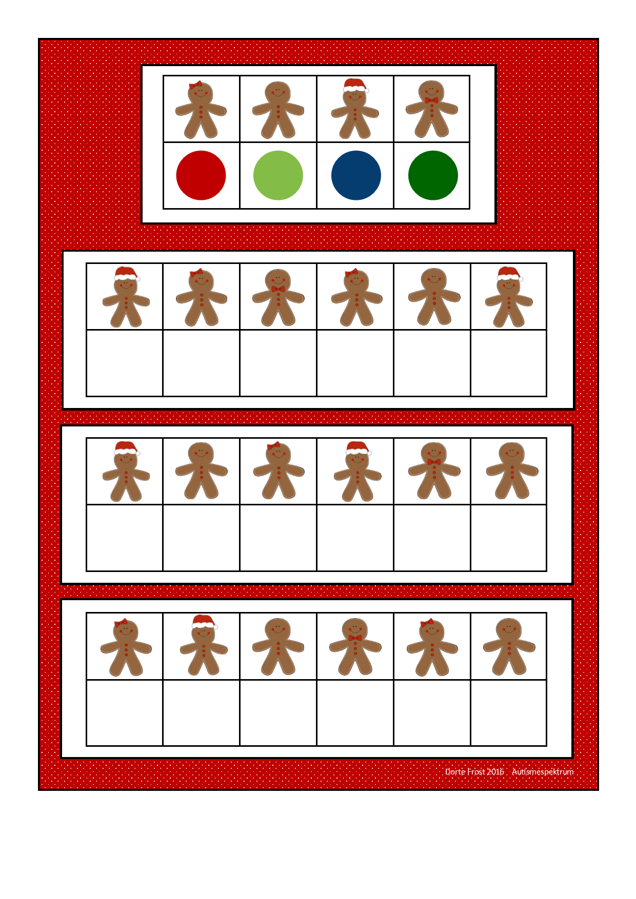 Board For The Gingerbread Visual Perception Game Find The Belonging Tiles On Autismespektrum On
