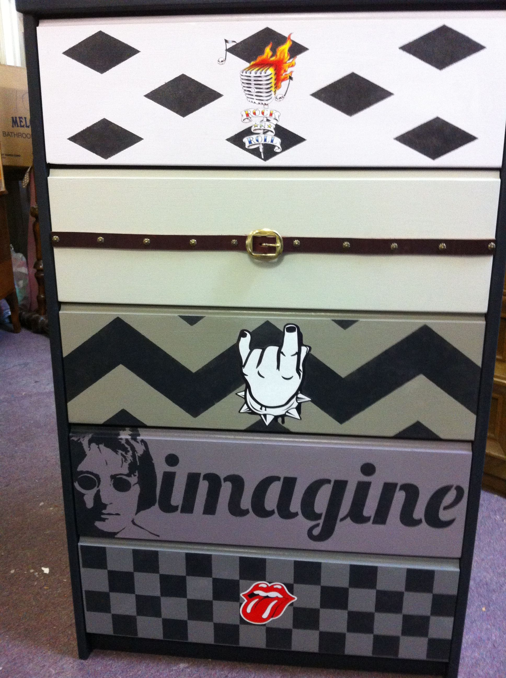Rock & roll dresser with concert tickets decoupaged on top & sides ...