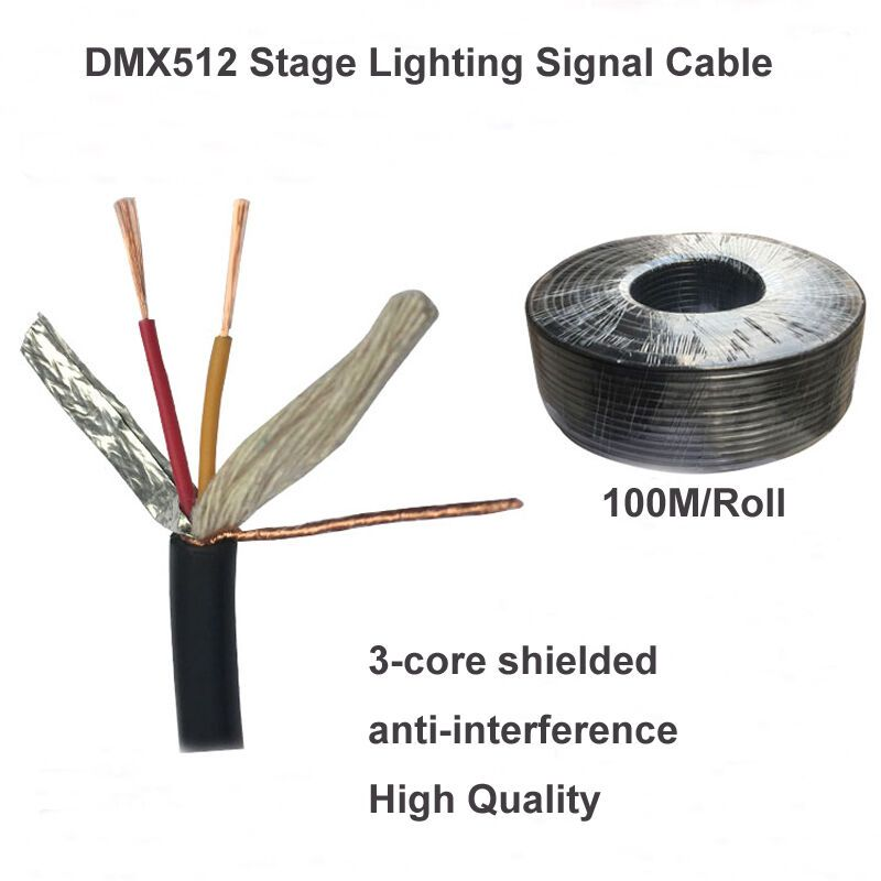 100m Roll Diy Dmx512 Stage Lights Cable Xlr Connector Led Par Moving Head Consol Aobolighting Stage Lighting Cable Lighting Led