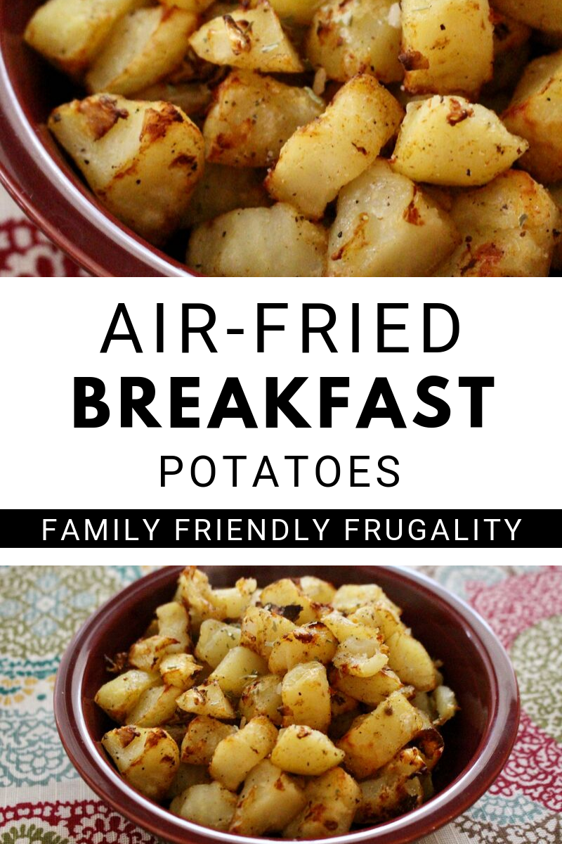 These homemade air-fried breakfast potatoes will be a hit with the whole family. This is an inexpensive breakfast recipe that can be used with your air fryer and/or Ninja Foodi. These air fried breakfast potatoes offer all the homefry hashbrown goodness of their deep-fried relatives with a fraction of the fat and calories! You will want to try these air fried breakfast potatoes today! Eat these for breakfast, or my personal favorite, breakfast for dinner!