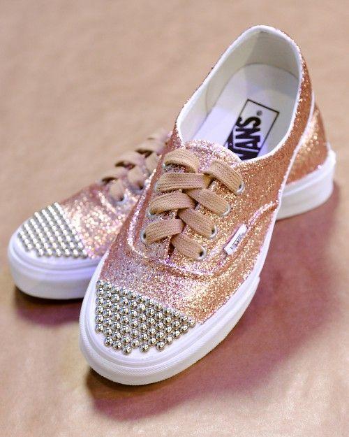 Glittered Sneaker Shoes   Glitter vans, Studded vans, Sneakers