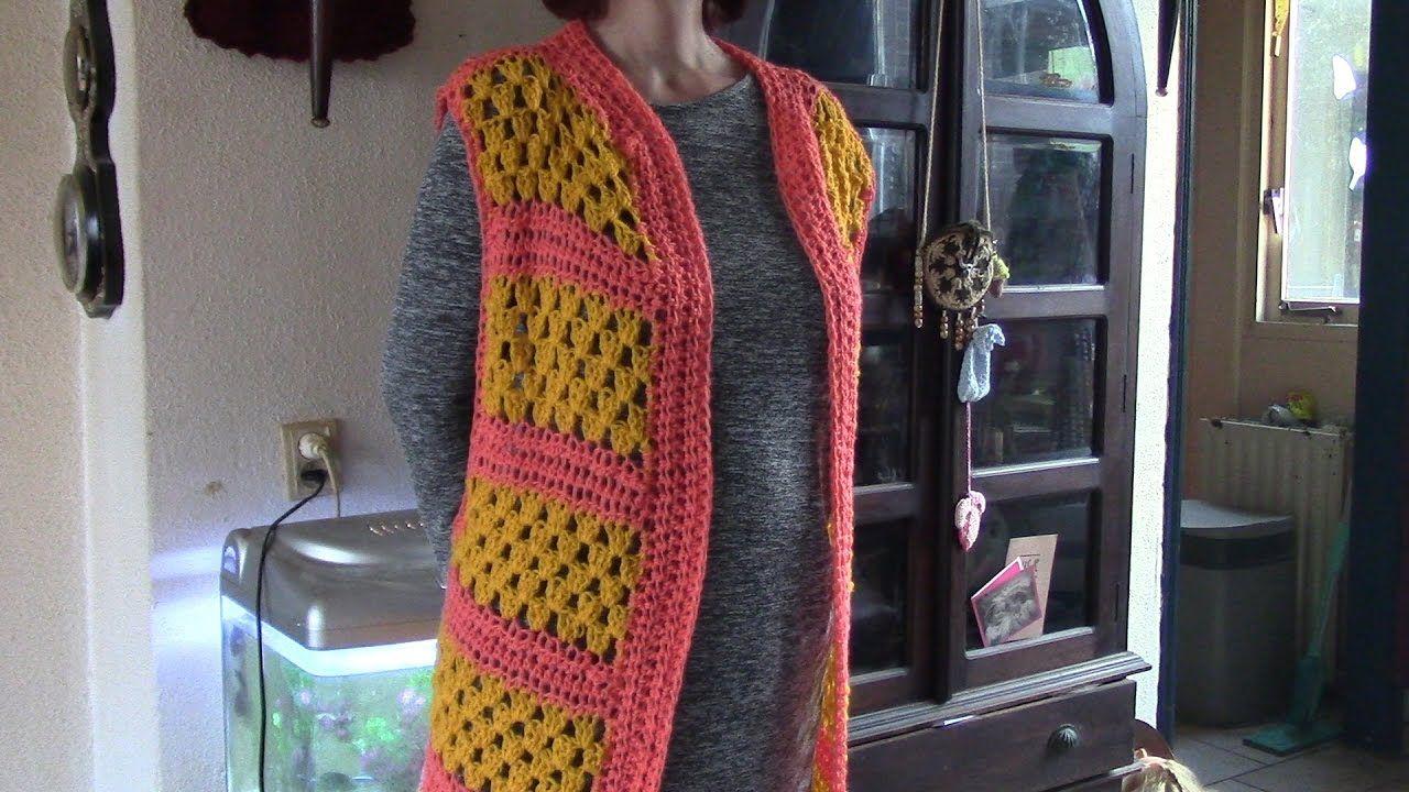 Haken Tutorial Lang Gilet Granny Vest Pinterest Crochet