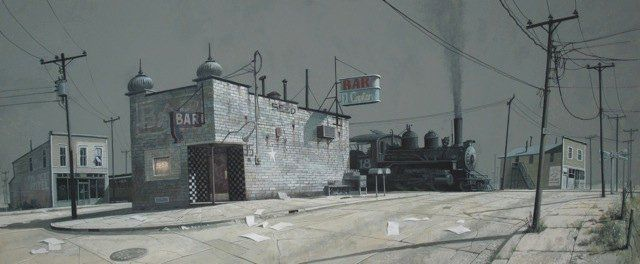 'She Decided to Stay' by James McNaught  gouache and watercolour on paper   30 x 72 cms