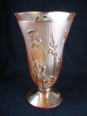 Depression Glass Iris & Herringbone Vase by Jeanette Glass Company