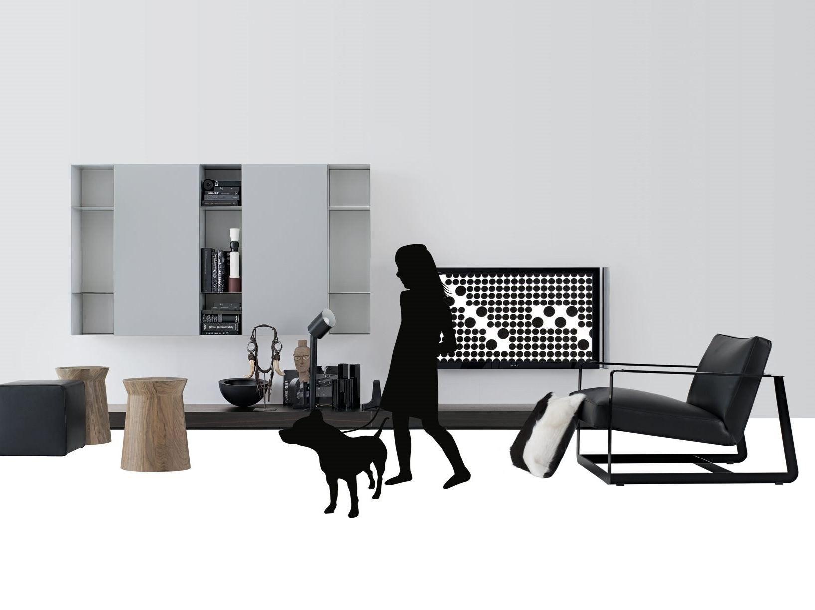 Ensemble Mural Composable Laquee Avec Support Tv Sintesi By Poliform