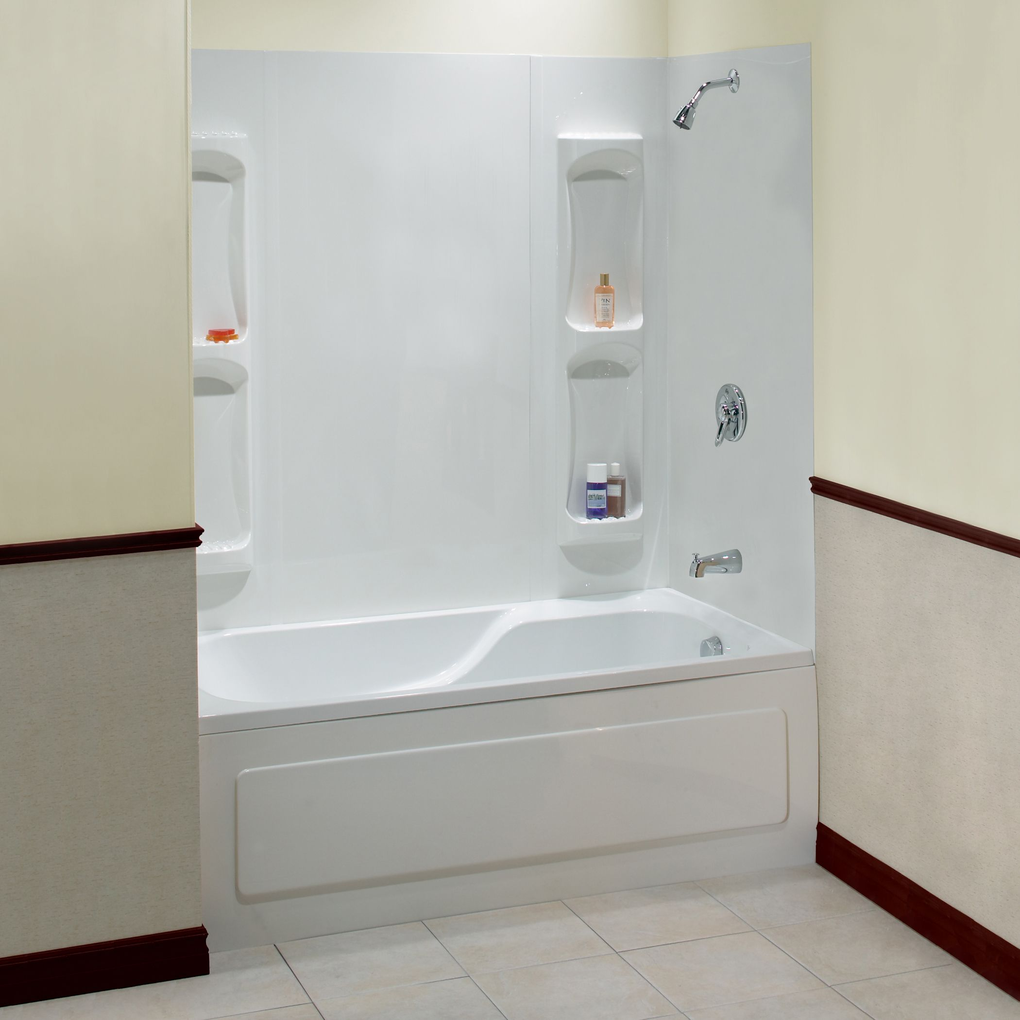 Stunning white acrylic wall and soaking tub also great for Bathroom accessories combo