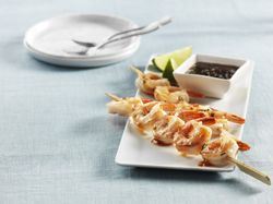 Sweet Thai Glazed Shrimp Skewers with LE14 Mosel Valley Riesling. Click Image for recipe.
