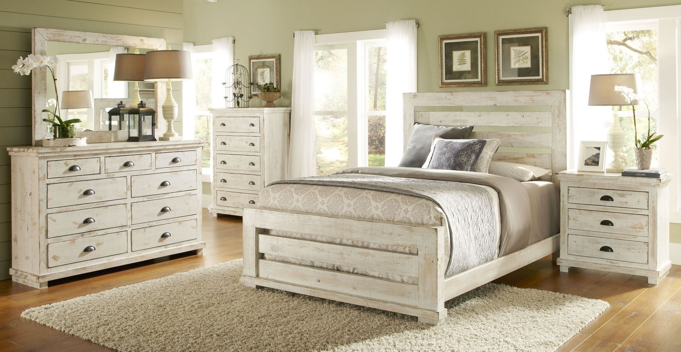 Willow Distressed White Slat Bedroom Set Distressed White