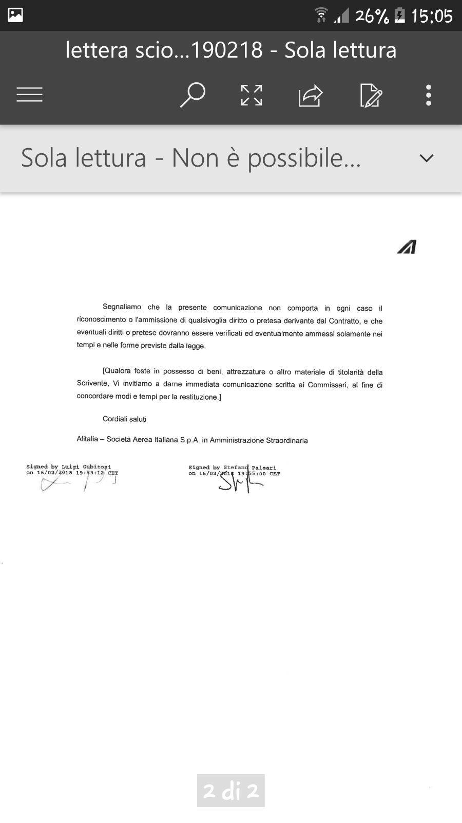 Alitalia Ha Inviato Una Lettera Di Licenziamento Ai Lavoratori Di