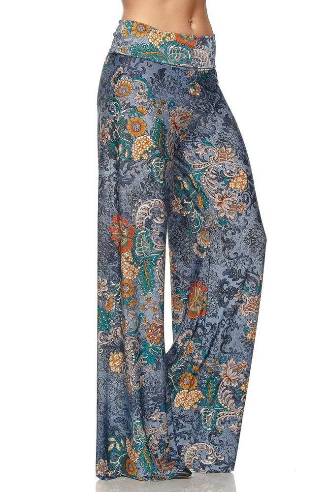 Blue Floral Palazzo Pants #CasualPants #widelegpants