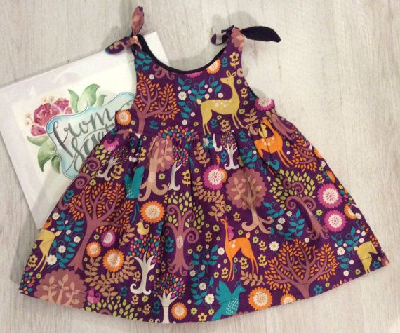 Woodland dress, girls dress, tie top, party dress, summer dress, girls summer dress, kids clothing, girls clothes, woodland party, outfit,