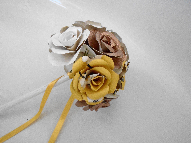 Bridal Rose Bouquet 12 Flowers Paper Flowers Wedding Flowers