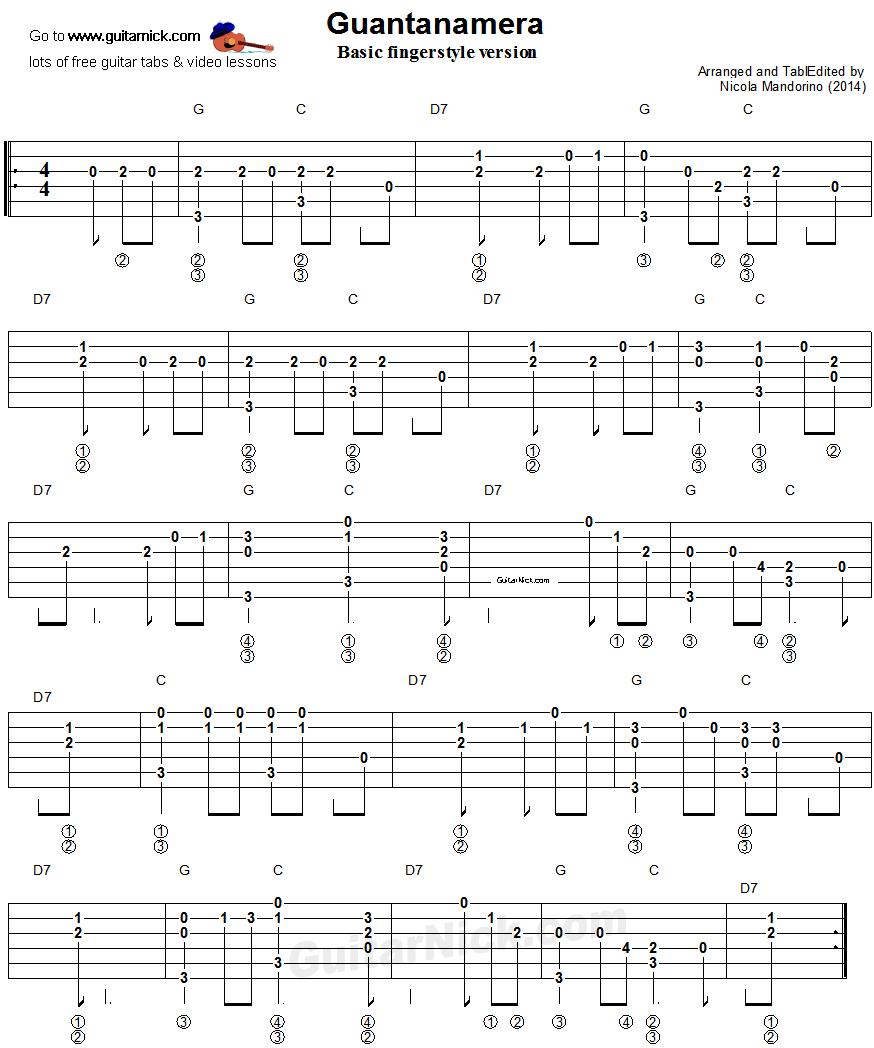 Guantanamera Fingerstyle Guitar Tablature 1 Guitar Pinterest