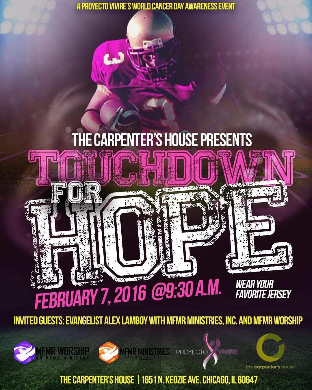 A Proyecto Vivire World Cancer Day Awareness Event.  English 9:30am Español 11:30am  #mfmr #mfmrministries #proyectovivire #cancer #cancerawareness #worldcancerday #superbowlsunday #superbowl #jersey #mfmrworship #hope by alexlamboy