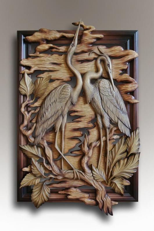 панно цапли Wood Carving Designs Wood Carving Art Wood