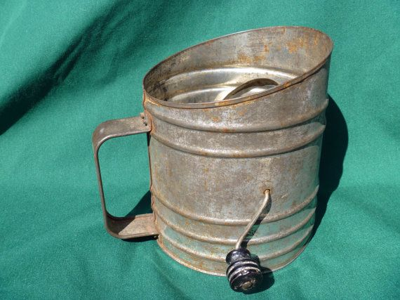 I want one!  ACME Metal FLOUR SIFTER Large with Black by EauPleineVintage, $9.95
