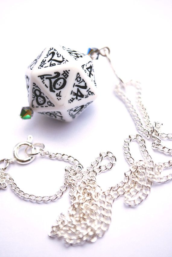 D20 White Dice Necklace On Silver Chain Via Etsy Nerdy