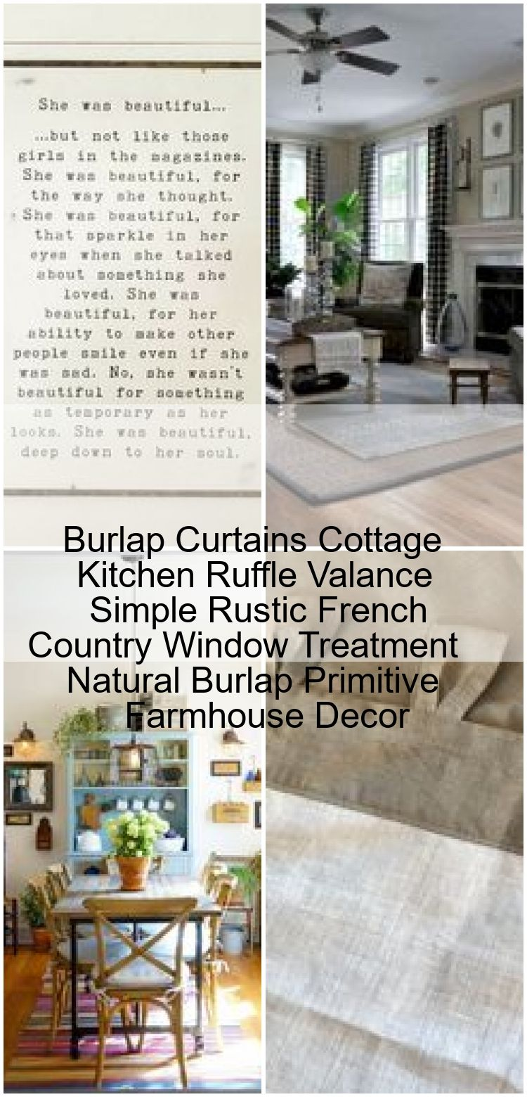 Burlap Curtains Cottage Kitchen Ruffle Valance Simple Rustic French Country Window Treatment  Burlap Curtains Cottage Kitchen Ruffle Valance Simple Rustic French Country...