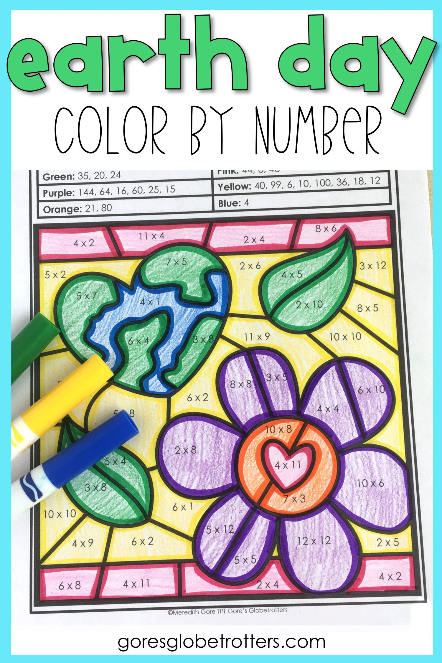 Earth Day Math Color By Number Differentiated