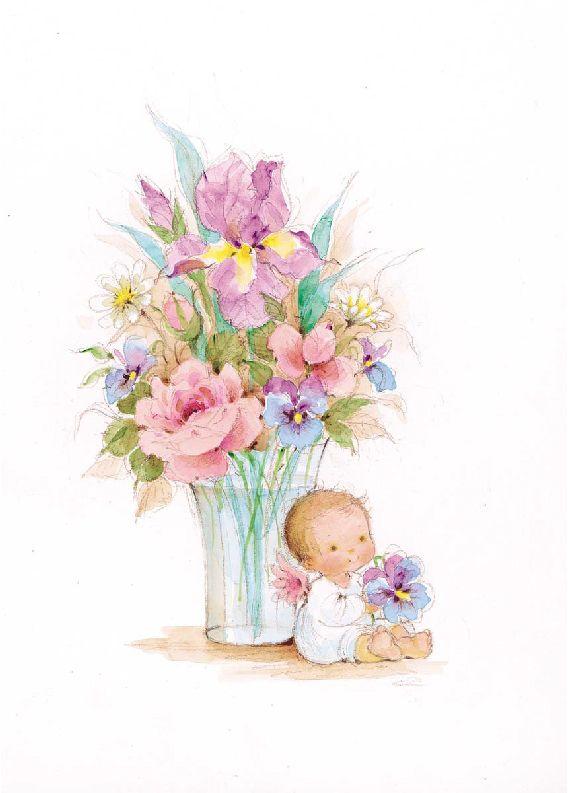 Angel Aquarelle Et Fleurs