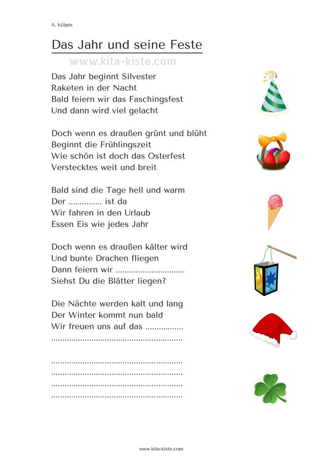 Gedicht Kinder Das Jahr Und Seine Feste Kita Kiste