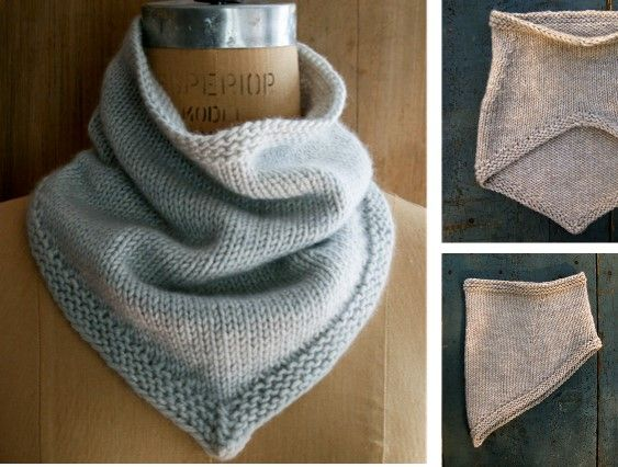 Simple Knitted Bandana Cowl Free Knitting Pattern Scarves